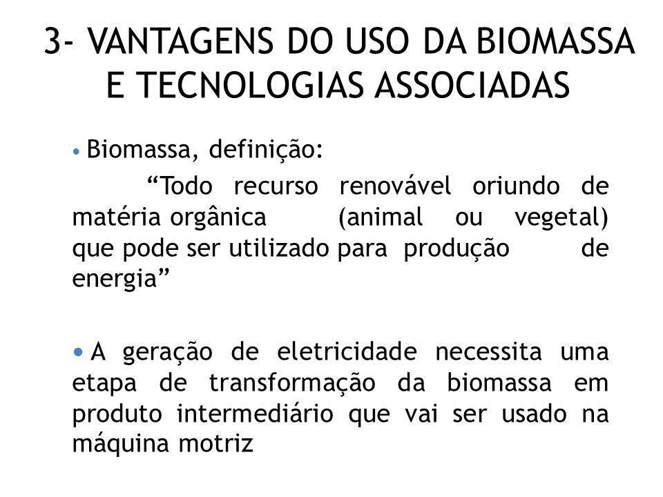 3- VANTAGENS DO USO DA BIOMASSA E TECNOLOGIAS ASSOCIADAS Biomassa, definição: Todo recurso renovável oriundo de matéria orgânica (animal ou vegetal) q