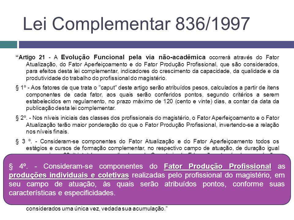 Lei Complementar 836/1997 Artigo 21 - A Evolução Funcional pela via não-acadêmica ocorrerá através do Fator Atualização, do Fator Aperfeiçoamento e do