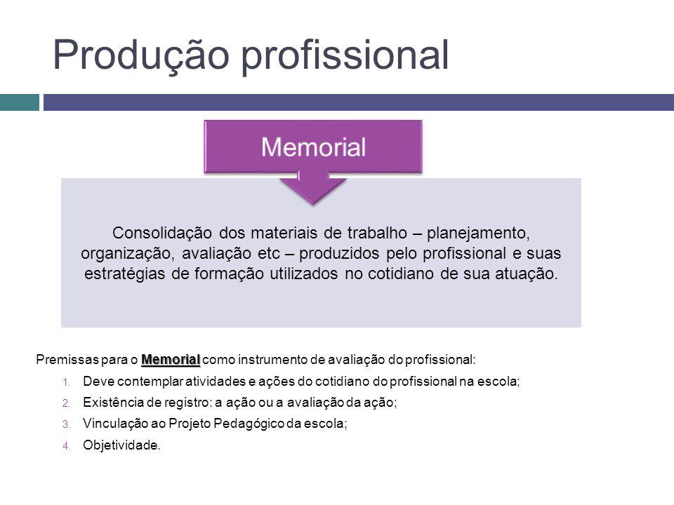 Consolidação dos materiais de trabalho – planejamento, organização, avaliação etc – produzidos pelo profissional e suas estratégias de formação utiliz