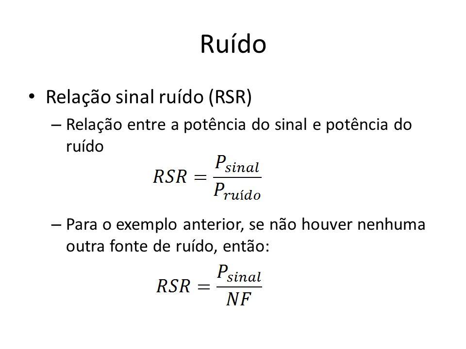 Ruído Relação sinal ruído (RSR) – Relação entre a potência do sinal e potência do ruído – Para o exemplo anterior, se não houver nenhuma outra fonte d