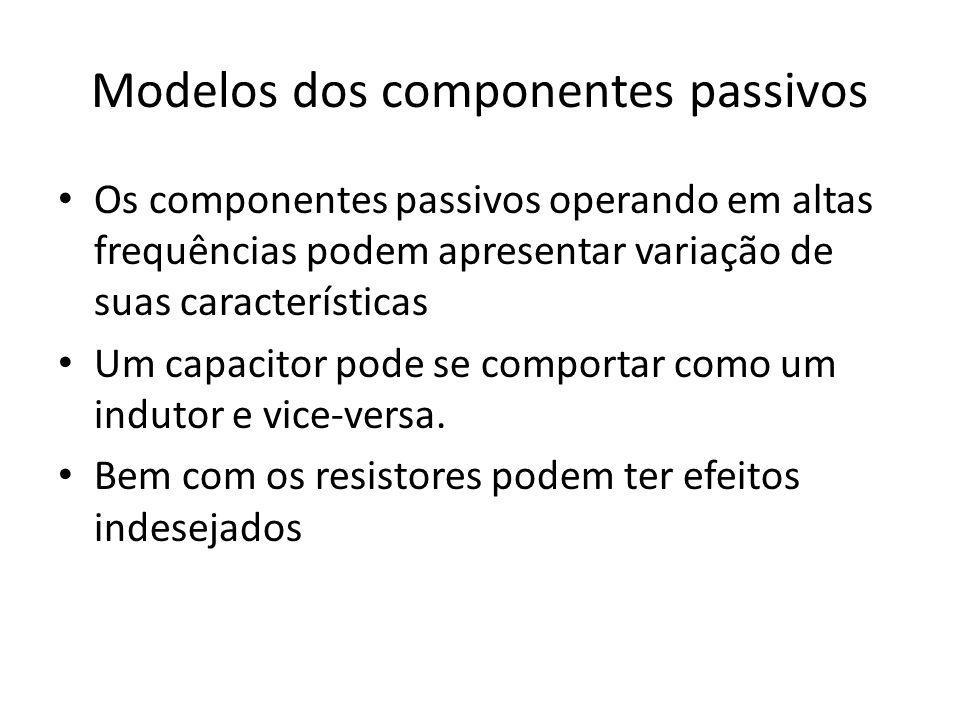 Modelos dos componentes passivos Os componentes passivos operando em altas frequências podem apresentar variação de suas características Um capacitor