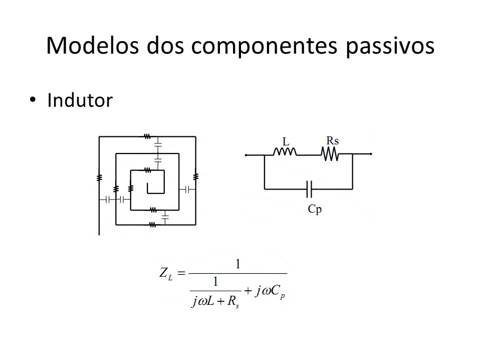Modelos dos componentes passivos Indutor
