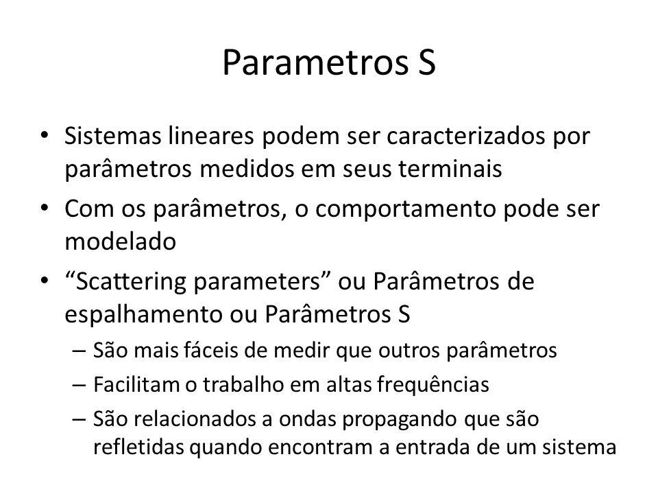 Parametros S Sistemas lineares podem ser caracterizados por parâmetros medidos em seus terminais Com os parâmetros, o comportamento pode ser modelado