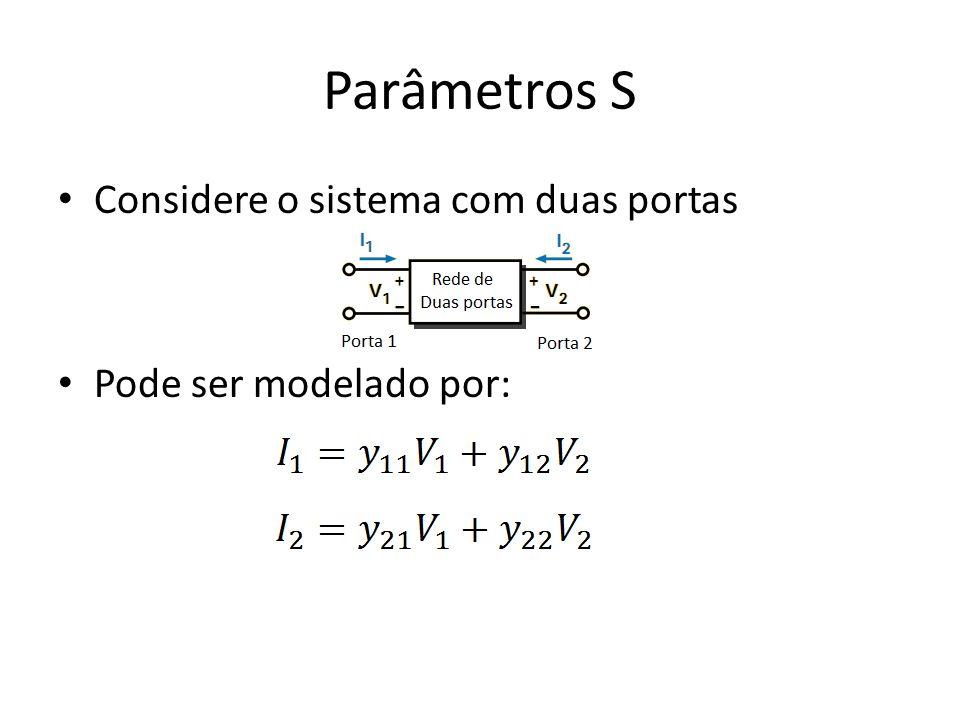 Parâmetros S Considere o sistema com duas portas Pode ser modelado por: