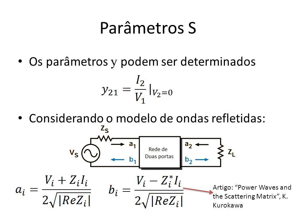 Parâmetros S Os parâmetros y podem ser determinados Considerando o modelo de ondas refletidas: Artigo: Power Waves and the Scattering Matrix, K. Kurok