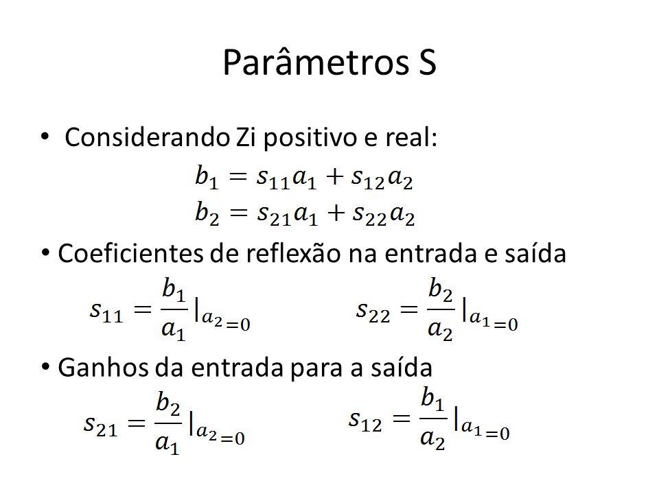 Parâmetros S Considerando Zi positivo e real: Coeficientes de reflexão na entrada e saída Ganhos da entrada para a saída