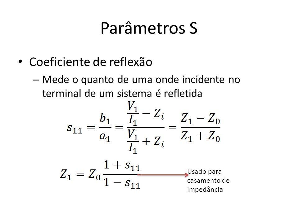Parâmetros S Coeficiente de reflexão – Mede o quanto de uma onde incidente no terminal de um sistema é refletida Usado para casamento de impedância