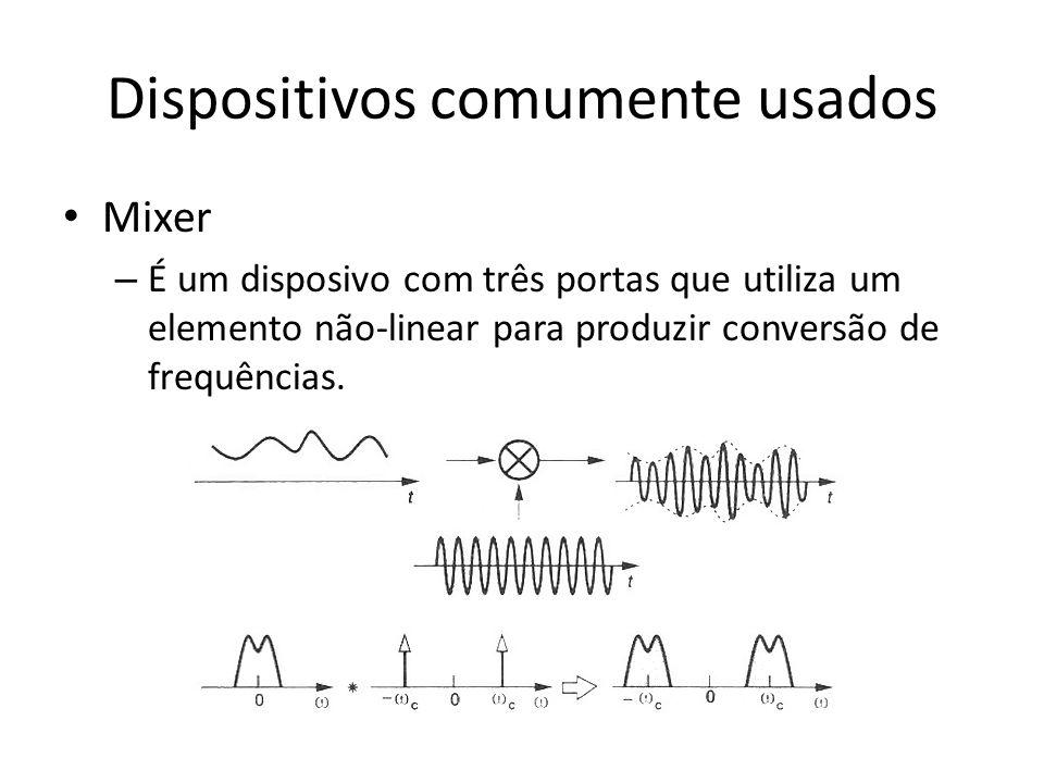 Dispositivos comumente usados Mixer – É um disposivo com três portas que utiliza um elemento não-linear para produzir conversão de frequências.