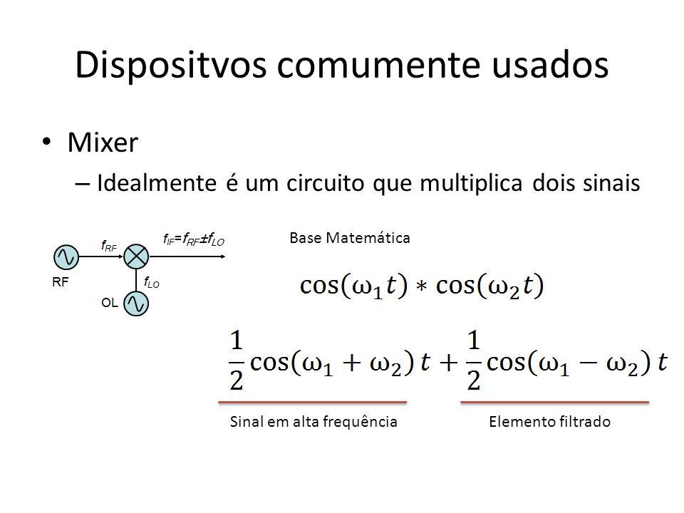 Dispositvos comumente usados Mixer – Idealmente é um circuito que multiplica dois sinais Base Matemática Elemento filtradoSinal em alta frequência