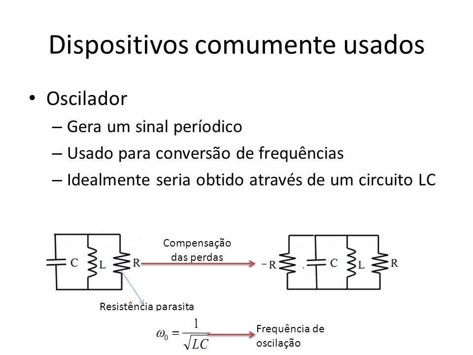 Dispositivos comumente usados Oscilador – Gera um sinal períodico – Usado para conversão de frequências – Idealmente seria obtido através de um circui