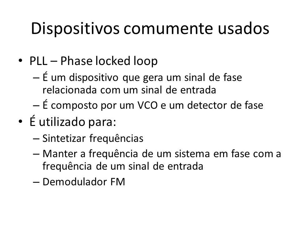 Dispositivos comumente usados PLL – Phase locked loop – É um dispositivo que gera um sinal de fase relacionada com um sinal de entrada – É composto po