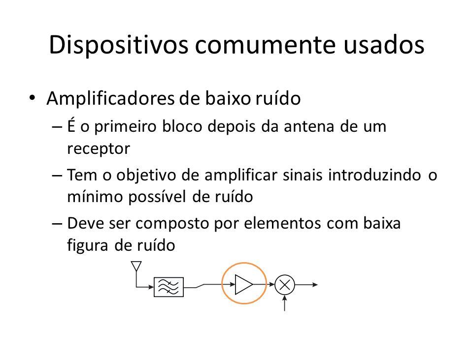 Dispositivos comumente usados Amplificadores de baixo ruído – É o primeiro bloco depois da antena de um receptor – Tem o objetivo de amplificar sinais