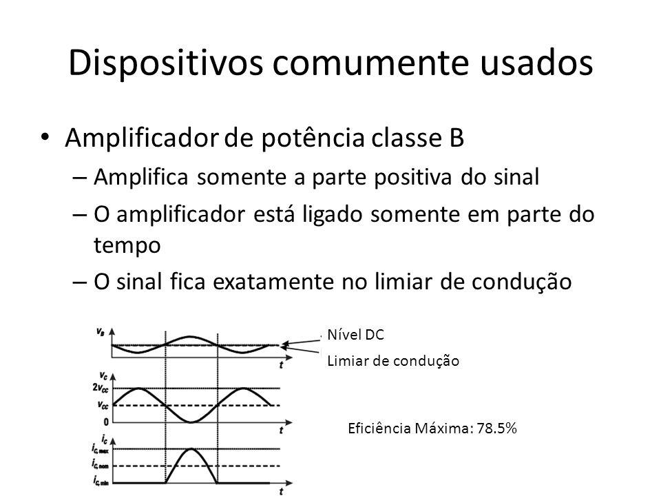 Dispositivos comumente usados Amplificador de potência classe B – Amplifica somente a parte positiva do sinal – O amplificador está ligado somente em