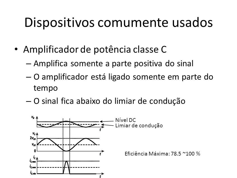 Dispositivos comumente usados Amplificador de potência classe C – Amplifica somente a parte positiva do sinal – O amplificador está ligado somente em