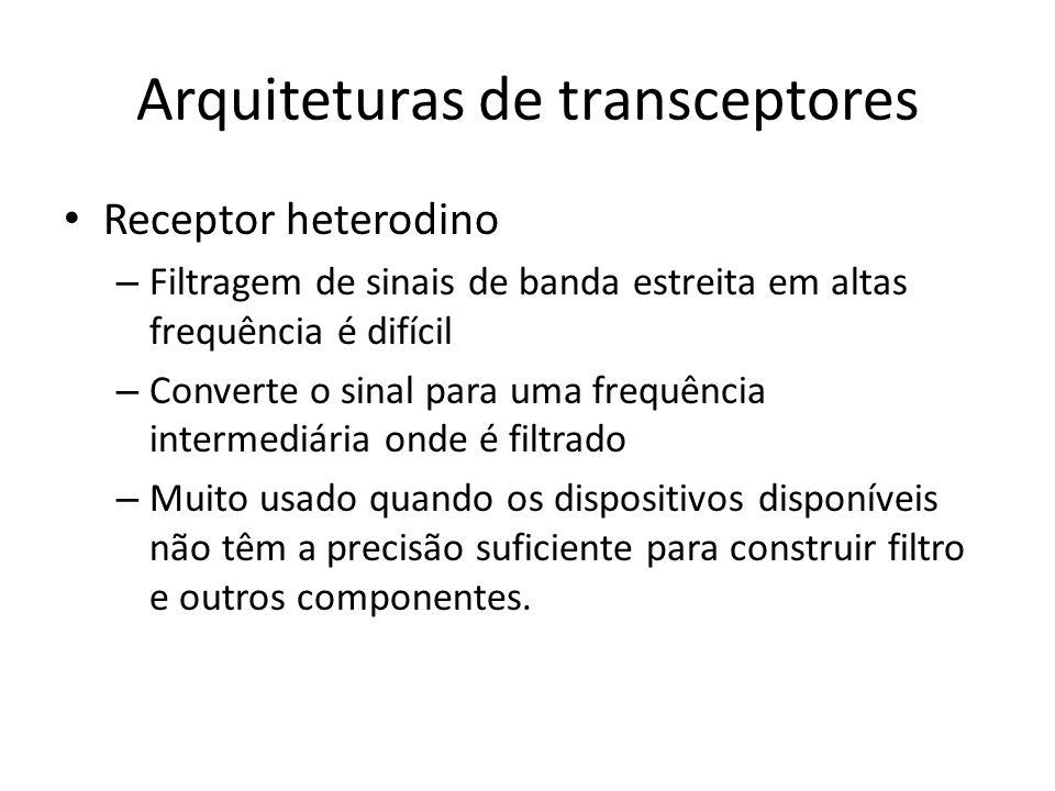Arquiteturas de transceptores Receptor heterodino – Filtragem de sinais de banda estreita em altas frequência é difícil – Converte o sinal para uma fr