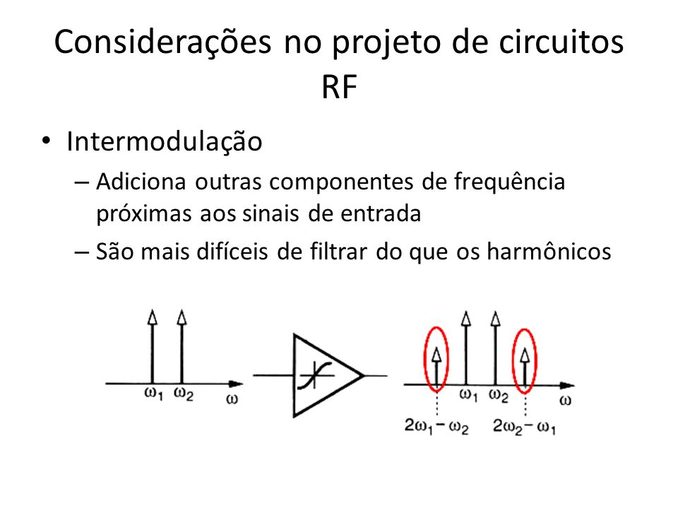 Considerações no projeto de circuitos RF Intermodulação – Adiciona outras componentes de frequência próximas aos sinais de entrada – São mais difíceis