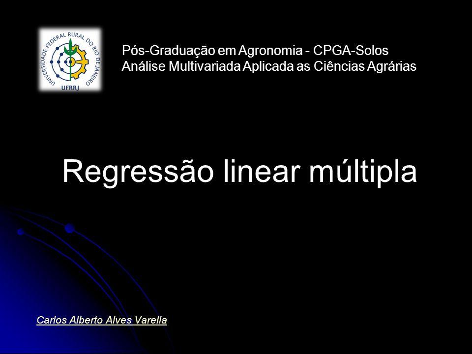 Esquema da análise de variância da regressão n =número de observações; n =número de observações; p =número de variáveis p =número de variáveis Análise para dados não repetidos Análise para dados não repetidos Causa de variação GLSQQMF Regressão pSQReg/p Resíduo n-p-1SQRes/n-p-1 Total n-1 cY X ˆ Y X ˆ Y Y cY Y sReQM gReQM