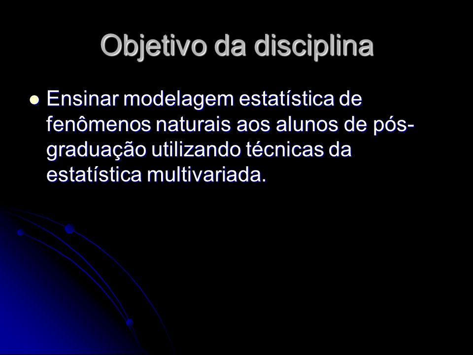 Ensinar modelagem estatística de fenômenos naturais aos alunos de pós- graduação utilizando técnicas da estatística multivariada.