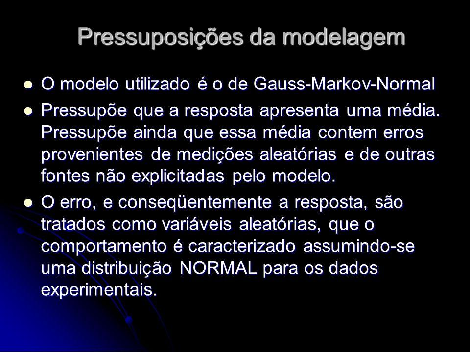 Pressuposições da modelagem O modelo utilizado é o de Gauss-Markov-Normal O modelo utilizado é o de Gauss-Markov-Normal Pressupõe que a resposta apresenta uma média.