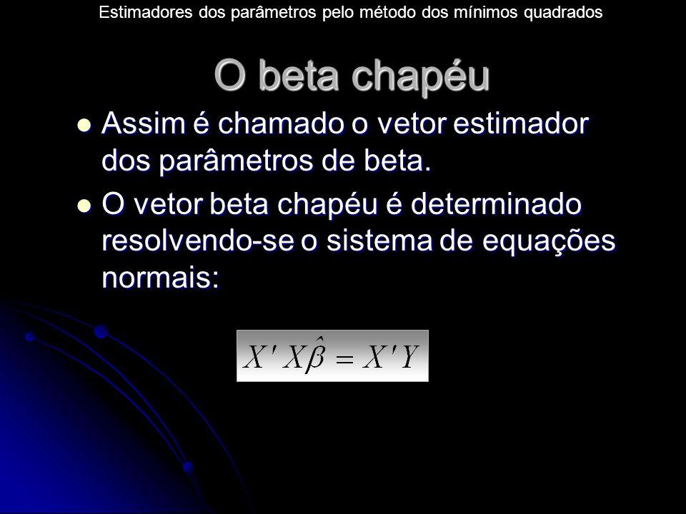 O beta chapéu Assim é chamado o vetor estimador dos parâmetros de beta.