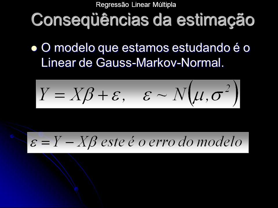O modelo que estamos estudando é o Linear de Gauss-Markov-Normal.