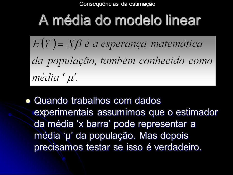 A média do modelo linear Quando trabalhos com dados experimentais assumimos que o estimador da média x barra pode representar a média μ da população.