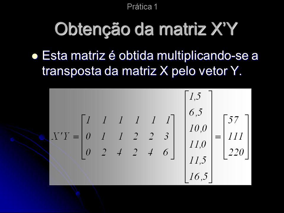 Obtenção da matriz XY Esta matriz é obtida multiplicando-se a transposta da matriz X pelo vetor Y.
