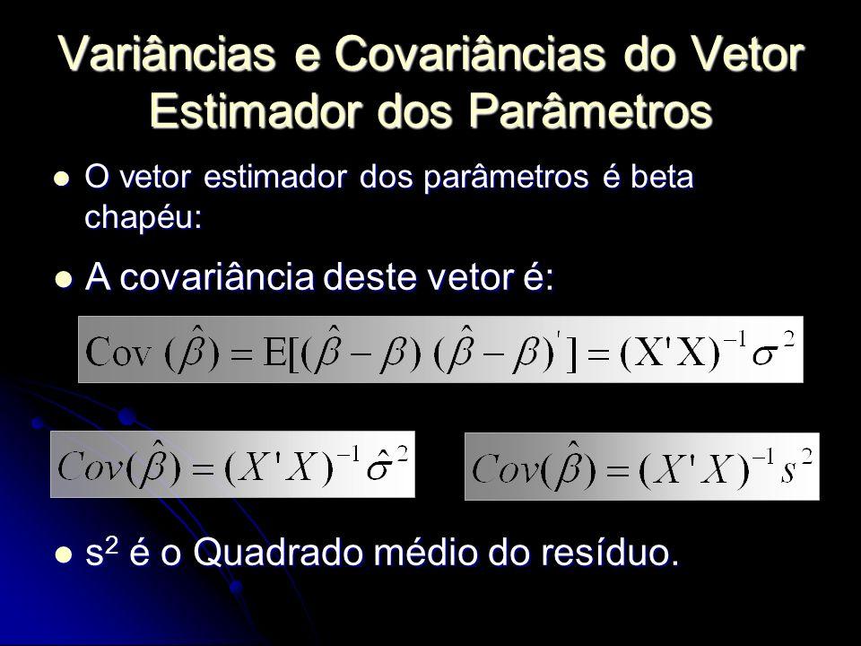 Variâncias e Covariâncias do Vetor Estimador dos Parâmetros O vetor estimador dos parâmetros é beta chapéu: O vetor estimador dos parâmetros é beta chapéu: A covariância deste vetor é: A covariância deste vetor é: s 2 é o Quadrado médio do resíduo.