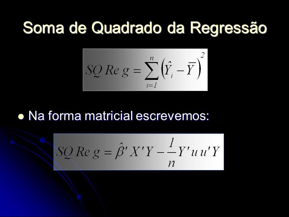 Soma de Quadrado da Regressão Na forma matricial escrevemos: Na forma matricial escrevemos: