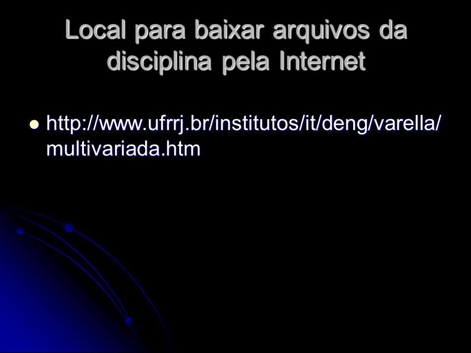 Local para baixar arquivos da disciplina pela Internet http://www.ufrrj.br/institutos/it/deng/varella/ multivariada.htm http://www.ufrrj.br/institutos/it/deng/varella/ multivariada.htm