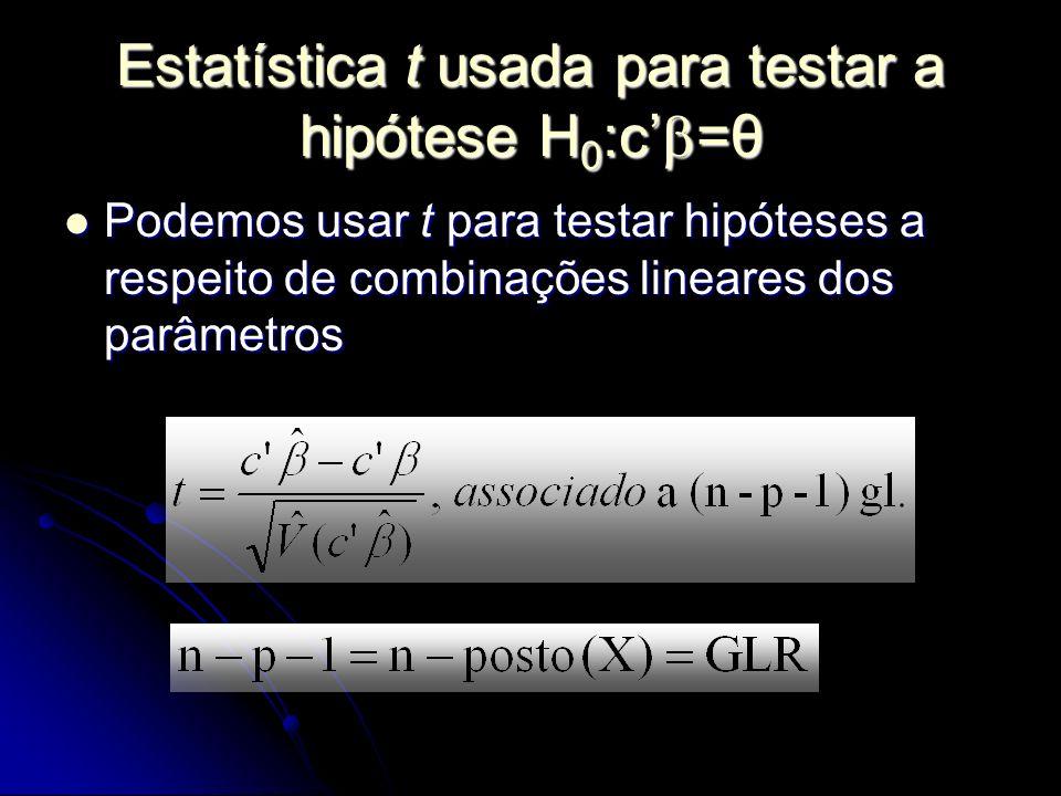 Estatística t usada para testar a hipótese H 0 :c =θ Podemos usar t para testar hipóteses a respeito de combinações lineares dos parâmetros Podemos usar t para testar hipóteses a respeito de combinações lineares dos parâmetros