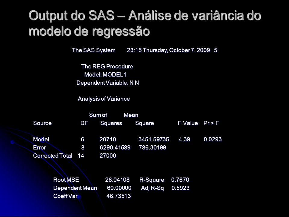 Output do SAS – Análise de variância do modelo de regressão The SAS System 23:15 Thursday, October 7, 2009 5 The REG Procedure The REG Procedure Model: MODEL1 Model: MODEL1 Dependent Variable: N N Dependent Variable: N N Analysis of Variance Analysis of Variance Sum of Mean Sum of Mean Source DF Squares Square F Value Pr > F Source DF Squares Square F Value Pr > F Model 6 20710 3451.59735 4.39 0.0293 Model 6 20710 3451.59735 4.39 0.0293 Error 8 6290.41589 786.30199 Error 8 6290.41589 786.30199 Corrected Total 14 27000 Corrected Total 14 27000 Root MSE 28.04108 R-Square 0.7670 Root MSE 28.04108 R-Square 0.7670 Dependent Mean 60.00000 Adj R-Sq 0.5923 Dependent Mean 60.00000 Adj R-Sq 0.5923 Coeff Var 46.73513 Coeff Var 46.73513