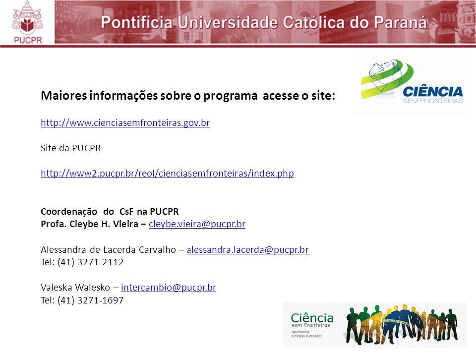 Maiores informações sobre o programa acesse o site: http://www.cienciasemfronteiras.gov.br Site da PUCPR http://www2.pucpr.br/reol/cienciasemfronteiras/index.php Coordenação do CsF na PUCPR Profa.
