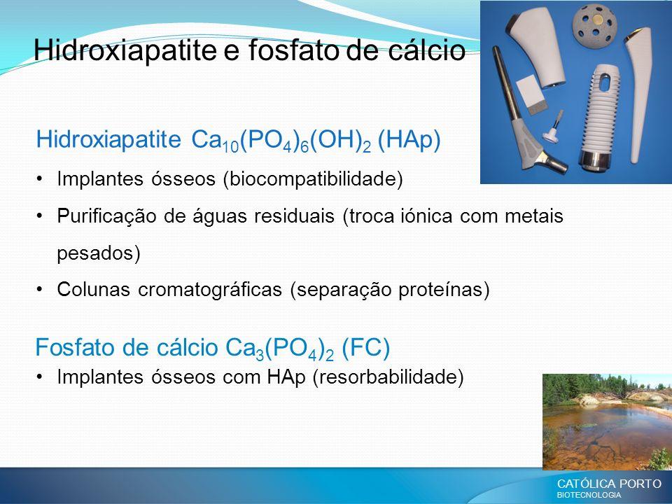 CATÓLICA PORTO BIOTECNOLOGIA Hidroxiapatite e fosfato de cálcio Hidroxiapatite Ca 10 (PO 4 ) 6 (OH) 2 (HAp) Implantes ósseos (biocompatibilidade) Puri