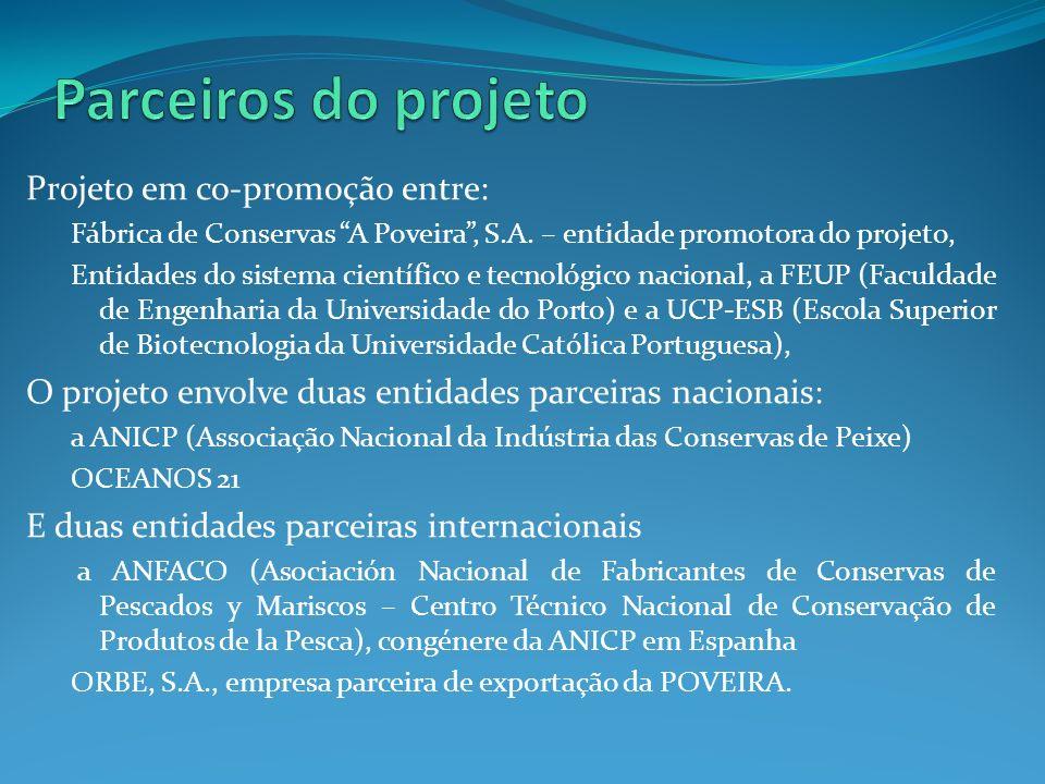 Projeto em co-promoção entre: Fábrica de Conservas A Poveira, S.A. – entidade promotora do projeto, Entidades do sistema científico e tecnológico naci