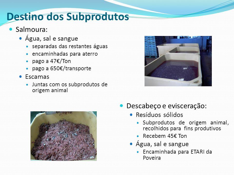 Destino dos Subprodutos Salmoura: Água, sal e sangue separadas das restantes águas encaminhadas para aterro pago a 47/Ton pago a 650/transporte Escama