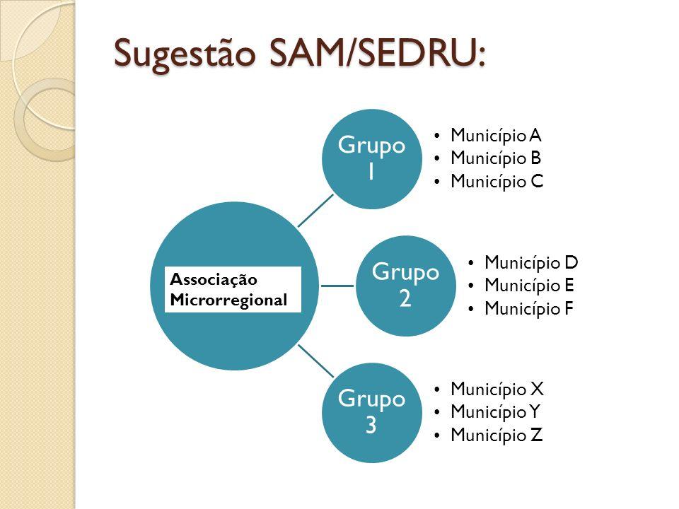 Sugestão SAM/SEDRU: Grupo 1 Município A Município B Município C Grupo 2 Município D Município E Município F Grupo 3 Município X Município Y Município Z Associação Microrregional