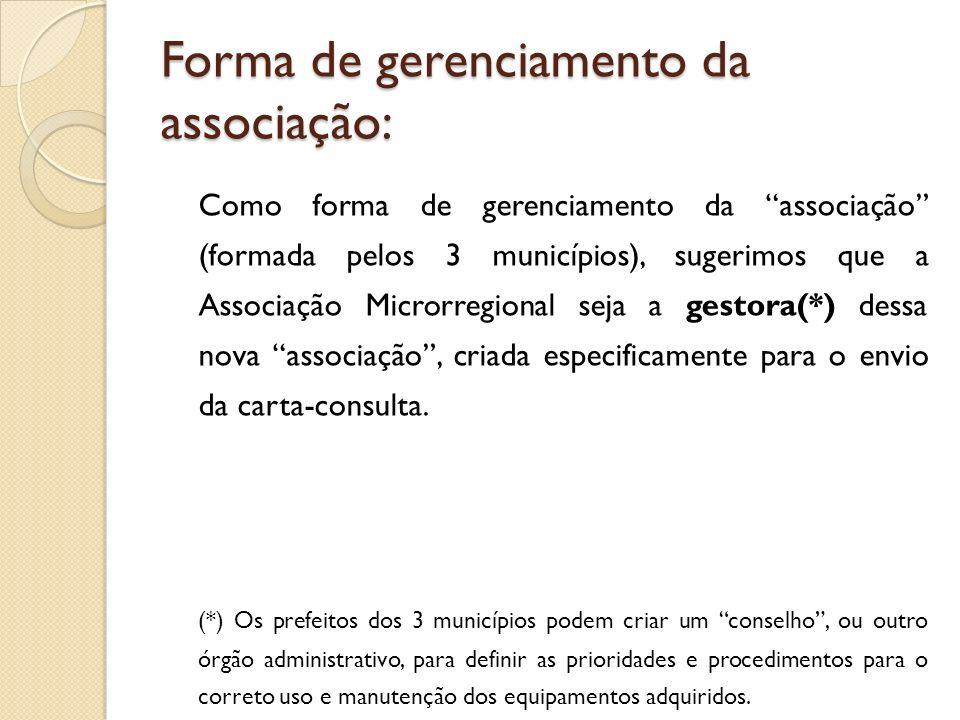 Forma de gerenciamento da associação: Como forma de gerenciamento da associação (formada pelos 3 municípios), sugerimos que a Associação Microrregional seja a gestora(*) dessa nova associação, criada especificamente para o envio da carta-consulta.