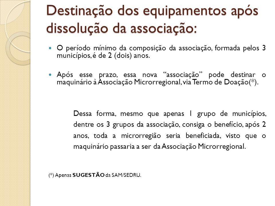 Destinação dos equipamentos após dissolução da associação: O período mínimo da composição da associação, formada pelos 3 municípios, é de 2 (dois) anos.