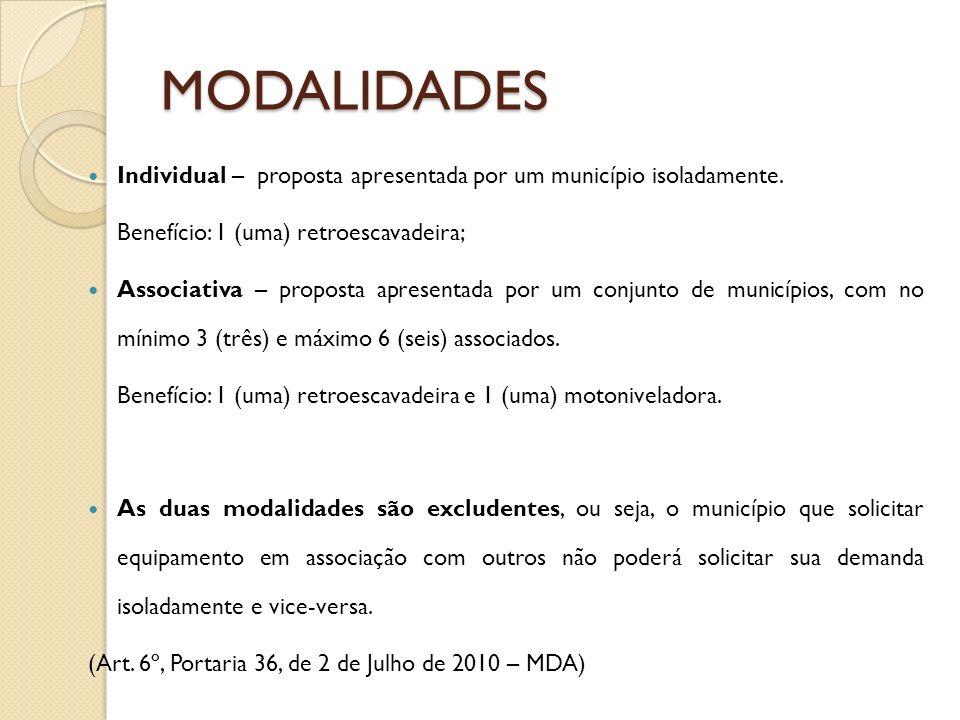 MODALIDADES Individual – proposta apresentada por um município isoladamente. Benefício: 1 (uma) retroescavadeira; Associativa – proposta apresentada p
