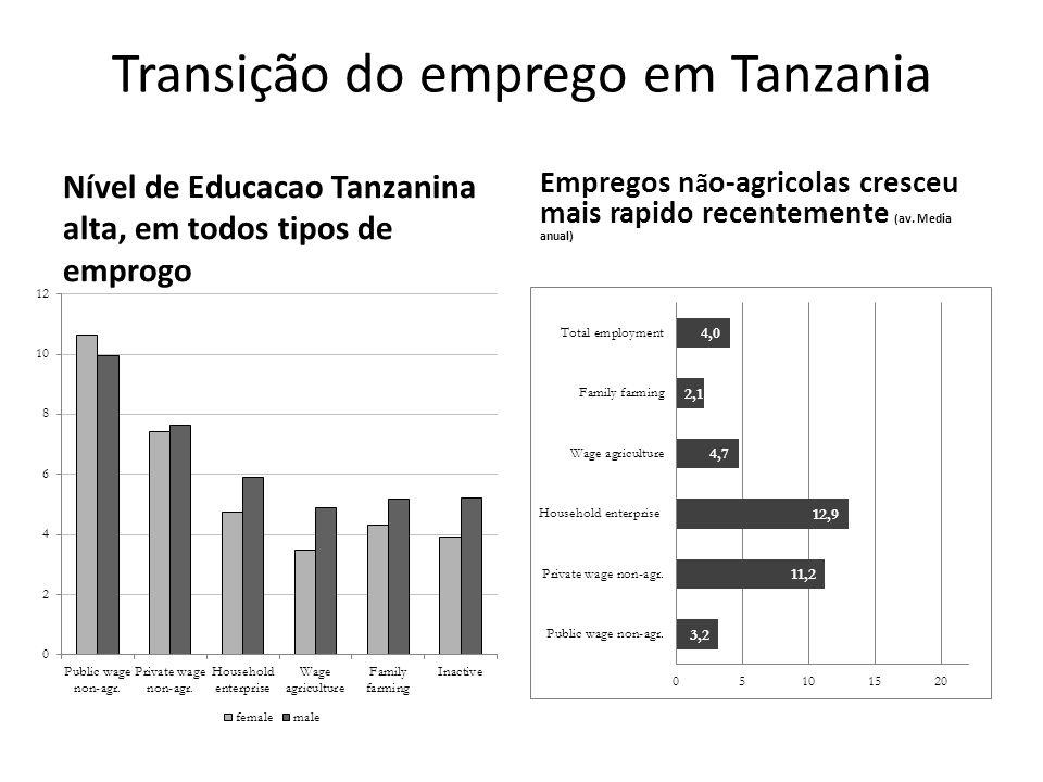 Transição do emprego em Tanzania Nível de Educacao Tanzanina alta, em todos tipos de emprogo Empregos n ã o-agricolas cresceu mais rapido recentemente (av.