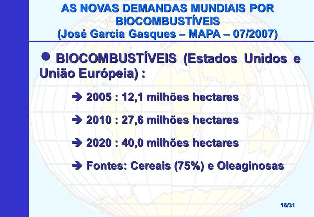 AS NOVAS DEMANDAS MUNDIAIS POR BIOCOMBUSTÍVEIS (José Garcia Gasques – MAPA – 07/2007) 16/31 BIOCOMBUSTÍVEIS (Estados Unidos e União Európeia) : BIOCOMBUSTÍVEIS (Estados Unidos e União Európeia) : 2005 : 12,1 milhões hectares 2005 : 12,1 milhões hectares 2010 : 27,6 milhões hectares 2010 : 27,6 milhões hectares 2020 : 40,0 milhões hectares 2020 : 40,0 milhões hectares Fontes: Cereais (75%) e Oleaginosas Fontes: Cereais (75%) e Oleaginosas