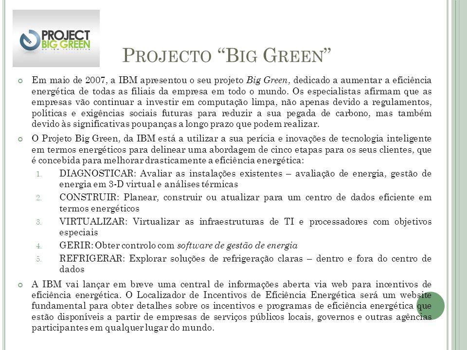 P ROJECTO B IG G REEN Em maio de 2007, a IBM apresentou o seu projeto Big Green, dedicado a aumentar a eficiência energética de todas as filiais da em
