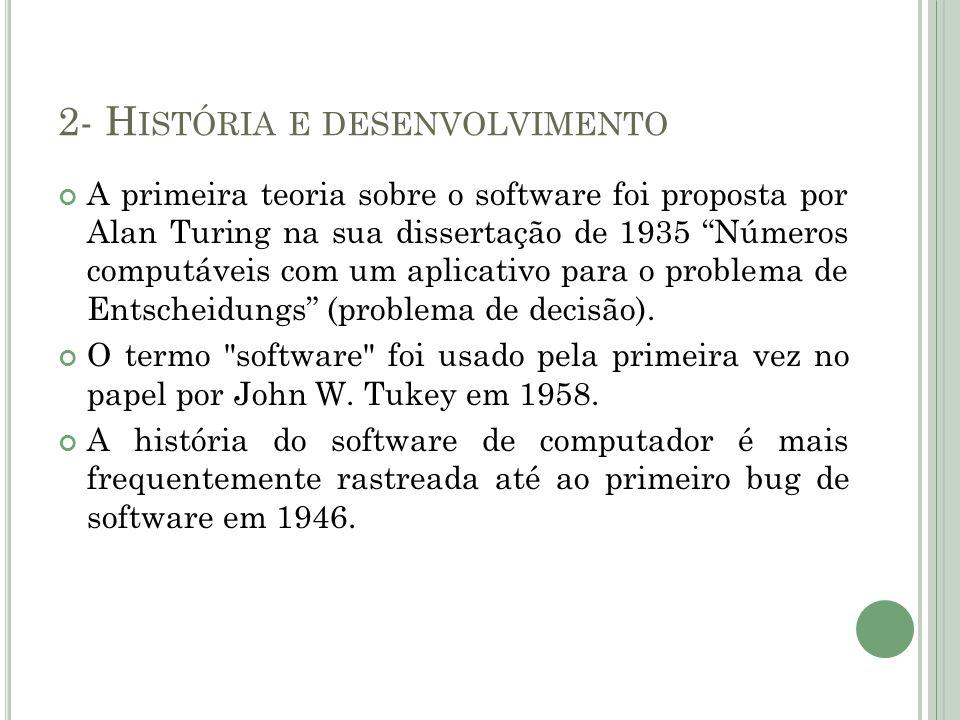 2- H ISTÓRIA E DESENVOLVIMENTO A primeira teoria sobre o software foi proposta por Alan Turing na sua dissertação de 1935 Números computáveis com um a