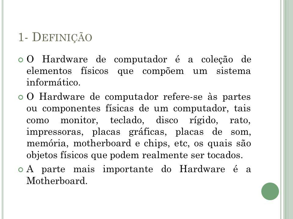 1- D EFINIÇÃO O Hardware de computador é a coleção de elementos físicos que compõem um sistema informático. O Hardware de computador refere-se às part