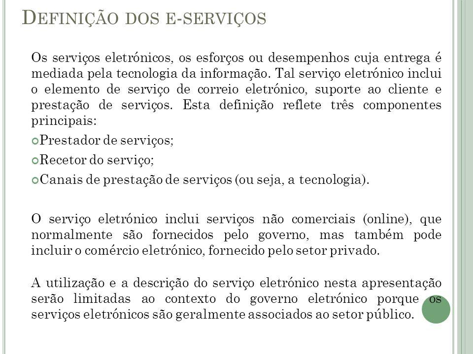 Os serviços eletrónicos, os esforços ou desempenhos cuja entrega é mediada pela tecnologia da informação. Tal serviço eletrónico inclui o elemento de