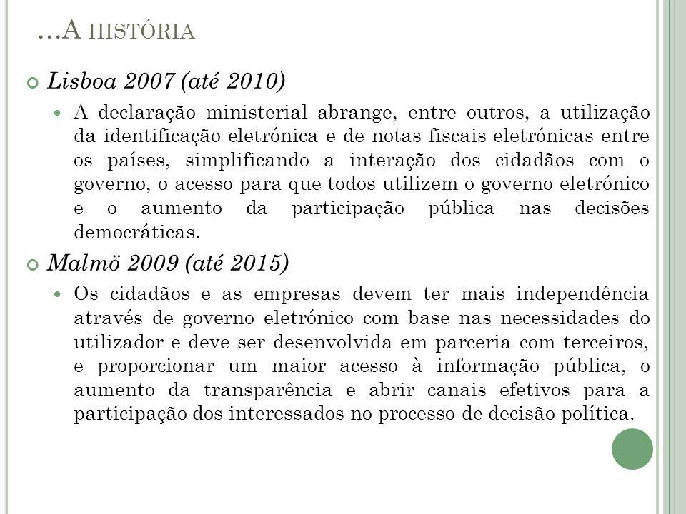 Lisboa 2007 (até 2010) A declaração ministerial abrange, entre outros, a utilização da identificação eletrónica e de notas fiscais eletrónicas entre o