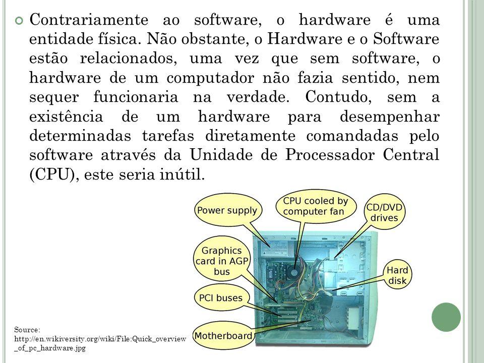 Contrariamente ao software, o hardware é uma entidade física. Não obstante, o Hardware e o Software estão relacionados, uma vez que sem software, o ha