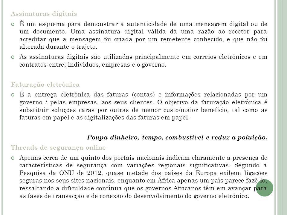 Assinaturas digitais É um esquema para demonstrar a autenticidade de uma mensagem digital ou de um documento. Uma assinatura digital válida dá uma raz