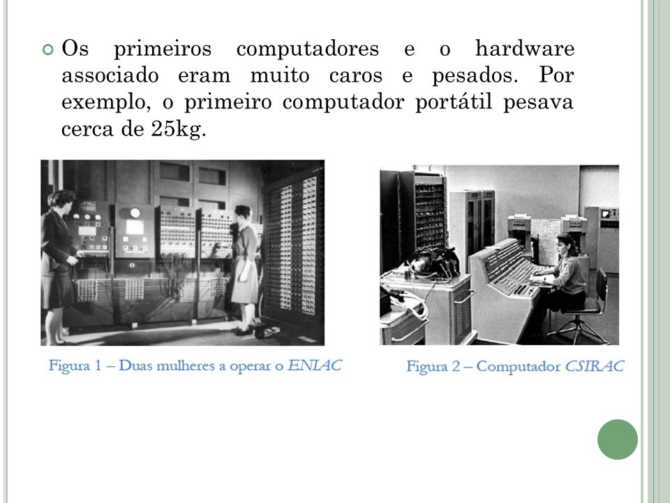 Os primeiros computadores e o hardware associado eram muito caros e pesados. Por exemplo, o primeiro computador portátil pesava cerca de 25kg.